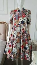 LINDY BOP DRESS 1950s Patchwork Cream Red Flare Swing Rockabilly Size 10 NEW Bn