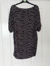 T7 WOMANS M&S BLACK MIX PRINT SHORT BAT SLEEVE SLASH NECK STRETCH TOP SIZE UK 12