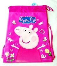 Peppa Pig Pink Backpack Licensed Drawstring Boy Sling Tote Gym Bag NEW