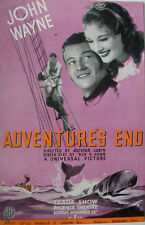 1937 JOHN WAYNE ADVENTURE'S END EARLY FILM PROMOTION TRADE ADVERTISEMENT/ POSTER