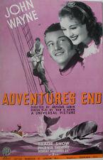 1937 JOHN WAYNE ADVENTURE'S END EARLY FILM PROMOTION TRADE ADVERTISEMENT/ POSTER