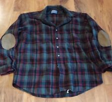 Pendleton Button Front Shirt Size Small Vintage Wool Plaid USA Padded Elbows