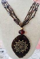 "Vintage Large Wood Pendant Multi Strand Beaded Necklace Boho Hippie Brown 24"""