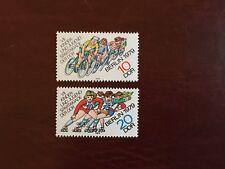 Alemania Oriental Ddr estampillada sin montar o nunca montada 1979 Spartakiad BERLIN patinaje Ciclistas Bicicleta