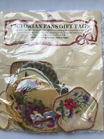 Victorian Fans Gift Tags With Strings Die-cut Pictures Scrapbooks Craft New