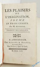 AKENSIDE Les plaisirs de l'imagination. Poème en trois chants 1ère ed 1759 rare