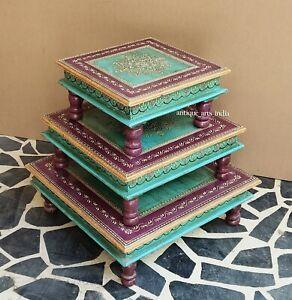 Indian Wooden Design Chowki/Choki Religious Purpose |  Set Of 3