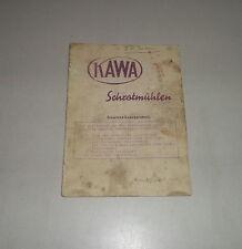 Catalogue des Pièces / Liste Pièces Détachées Kawa Moulin à Malt - 08/1951