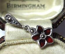 Vintage Design Pretty Enamel Flower Marcasite Sterling Silver Necklace Pendant