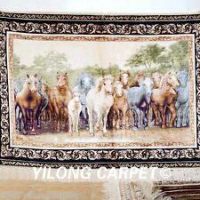 Yilong 3'x4' Handmade Silk Area Rugs Eight Horses Design Handcraft Carpets 1201