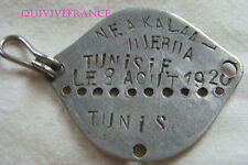 PLAQUE IDENTITE DOG TAG  FRANCE WWII CLASSE 1940 TUNIS