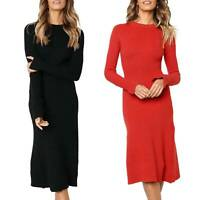 Womens Bodycon Knitted Midi Dress Slim Fit Crew Neck Winter Long Sleeve Dresses
