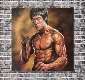 Bruce Lee Oil Painting Portrait Original Hand-Painted Art Canvas NOT Print 24x24