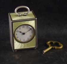 SUB MINIATURE STERLING SILVER 8 DAYS CLOCK ANTIQUE WATCH GUILLOCHE ENAMEL DIAL