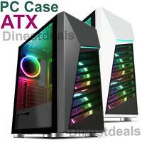 CIT Alpha Mid ATX Gaming PC Case LED Strip Tempered Glass 3x Rainbow ARGB Fans