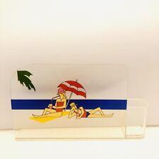 """Vtg Retro Beach Ocean Theme Plastic Pen & Cardholder 5""""X 7"""" Desk Organizer"""