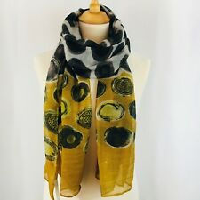 Mustard Yellow Spots Scarf Pashmina Black Brown  New Season Arrivals Shawl Wrap