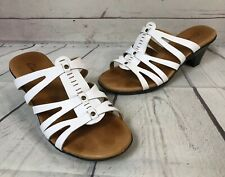 CLARKS White Heeled Sandals Shoes Womens Size 7.5 Leather
