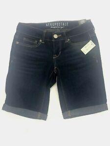 "NEW Aeropostale Dark Denim 9"" Bermuda jean denim shorts #1"