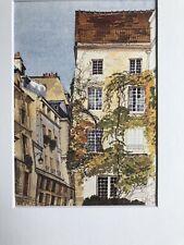Watercolor Fall Climbing Ivy Art Print European Quaint Village Pierre Deux Style
