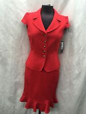 TAHARI BY ARTHUR LEVINE SKIRT SUIT/SIZE 12/RETAIL$280//LINED/RED/SMOKE FREE