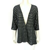 LuLaRoe Black White Striped Kimono Style Cardigan Open Front Sweater Size: Small