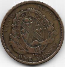 CANADA 1837 QUEBEC BANK ONE PENNY TOKEN - VF CONDITON - BV$13.50