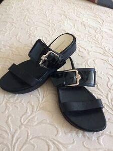 Isaac Mizrahi Live Open Toe Double Strap Wedge Sandals. Womens Size 6.5 Black.