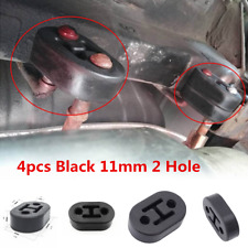 4pcs Universal Car Polyurethane Rubber 2 Hole 11mm Exhaust Muffler Hanger Black