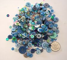 NO 556 SCRAPBOOKING -100+ BLUE TONE BUTTONS BEADS SEQUINS - EMBELLISHMENTS