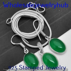 Green Onyx 925 Silver Sterling Plated Chain Pendant+Earring Sets CST-FP-123