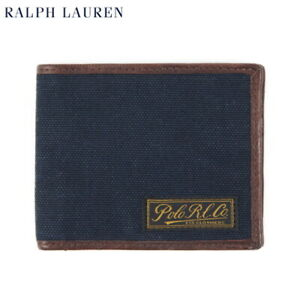 Polo Ralph Lauren Wallet Billfold Canvas with Leather - navy -