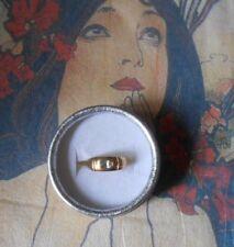 Bague ancienne Art Déco plaqué or poinçonné saphir blanc