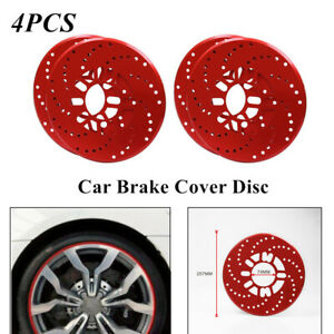 4PC Red Car Aluminum Alloy Wheel Brake Disc Cover Decorative Rotor Cross Drilled