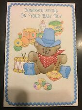 Baby Boy Vintage Greeting Card - cowboy teddy bear