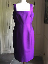 "LK Bennett UK14 ""Cadbury"" purple fitted and fully lined dress 52% Silk 48% Wool"