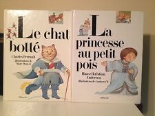 Puss In Boots + Princess & The Pea In French Illustrated Hardcovers