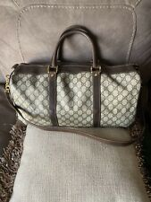 GUCCI GG Boston Hand Travel Bag Brown Canvas Leather Vintage Used NO KEY