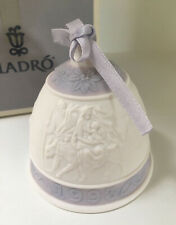 Lladro Christmas Bell 1993 -Family on Donkey- w/ Box and Ribbon Blue/White