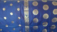 New Pure Soft Silk Royal Blue Gold Floral Zari Saree Sari Party Wedding Bridal