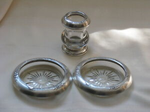 Frank M Whiting Rose of Sharon Sterling Silver Coasters, Tooth Pick Holder  3Pcs