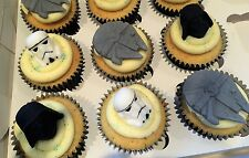 6 Handmade Edible Sugarpaste Star Wars Cupcake Toppers Decorations
