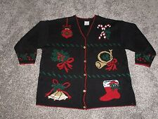 Style Studio Ugly Christmas Sweater, Black, Women's 3XL