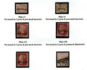 CYPRUS QV Stamps{6} Overprint FORGERIES 1880s Album Page YP52
