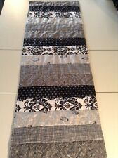 Handmade Black,White and Gray Patchwork Quilted Table Runner /Scarf 16 x 53 ins