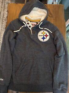 Pittsburgh Steelers Mitchell & Ness throwbacks hoodie medium grey vintage NFL