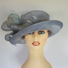 Ladies Formal Hat Wedding Races Grey Blue Bow Front Feathers Loops