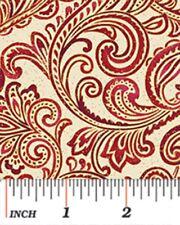 CHICKADEES & BERRIES RED GOLD SCROLL CHRISTMAS FABRIC METALLIC