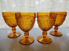 Tiara Indiana Glass 4 Amber Sandwich 8 Ounce Water Goblets