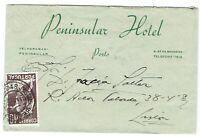 PORTUGAL: 40c GIL VICENTE on 1937 PENINSULAR HOTEL Cover AMBULANCIAS PORTO-GARE